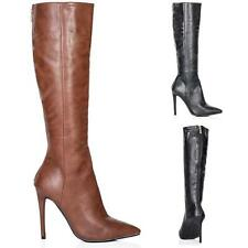 Unbranded Women's Synthetic Leather Zip Stiletto Boots