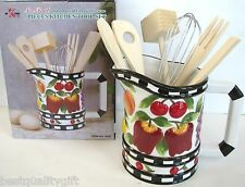 NEW 7 PC KITCHEN TOOL SET FRUIT,APPLE,CHERRY HAND PAINTED FINE CERAMIC+BOX