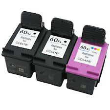 HP 60XL 2 Black CC641W+1 Color CC644W 33% More Reman ink Cartridge Deskjet D2500