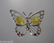 """SWAROVSKI YELLOW CRYSTAL ELEMENTS """"BABY BUTTERFLY"""" SUN CATCHER SILVER PLATED"""
