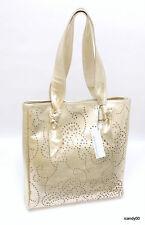 Nwt Roberta Gandolfi Italy Perforated Leather Shopper Tote Bag Handbags ~Gold