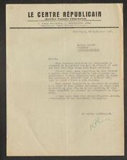 """MONTLUCON (03) IMPRIMERIE / PRESSE Quotidien """"LE CENTRE REPUBLICAIN"""" en 1947"""