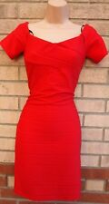 PRIMARK RED STRIPE QUILTED TUBE BANDAGE BODYCON PARTY SEXY EVENING XMAS DRESS 12