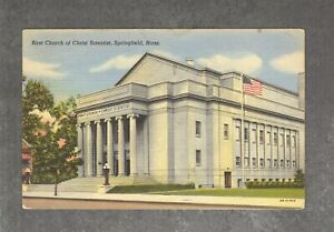 Vintage 1944 Linen Postcard: First Church of Christ Scientist Springfield MA