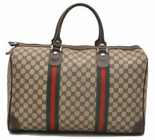 Authentic GUCCI Web Sherry Line Travel Bag GG PVC Leather Brown A8365