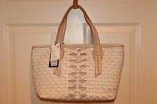 NEW NWT COLE HAAN Woven Ivory Vachetta Tan Leather HAYDEN Tote Bag CHR11075 $368