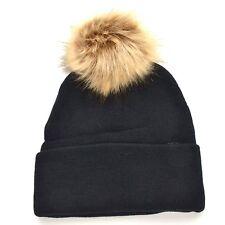 New Women's Winter Trendy Warm Faux Fur Brown Pom Pom Fashion Black Beanie Hats