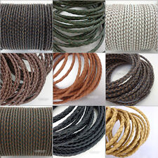 Genuine Braided Round Leather Cord DIY Jewelry Necklace Bracelet Making String