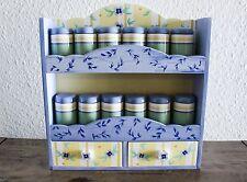 Pfaltzgraff SUMMER BREEZE Wooden Spice Rack with 12 Spice Jars