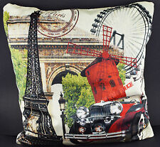 "Eiffel Tower Paris France Printed 16"" Cushion Cover Velvet & Rose Silk Material"