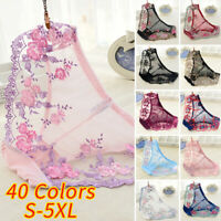 Womens Sexy Sheer Lace Briefs Underwear Embroidered Knickers Panties Thongs New