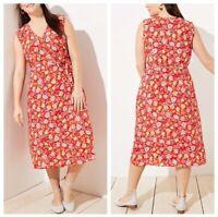 NWT Ann Taylor Loft Womens Plus Red Vintage Floral Print Midi Wrap Dress Size 24