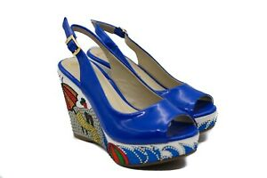 LucyToni Wedges Peep Toe with Diamante Blue Summer Shoes