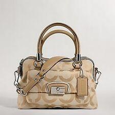 Coach 14913 Kristin Op Art Signature Jacquard &Leather Satchel Hobo bag