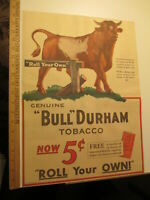 newspaper ad 1931 BULL DURHAM tobacco cigarette roll your own white AW full
