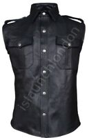 Mens Hot Genuine Real Black Sheep/Lamb LEATHER Shirt BLUF Gay All Sizes STYLISH