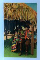 Florida Everglades Seminole Indian Family Linen Vintage Postcard