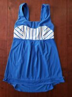 Lululemon tank top With Built In Bra Womens Size 2 Blue White Stripes Excercise