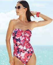 Calvin Klein Swimsiut One-Piece Bandeau Floral # CG5MT002 Women's 2 NWT $118