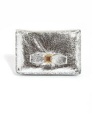 Small Silver Faux Leather Bow Wallet