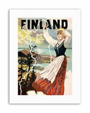 FINLAND TRADITIONAL DRESS NATURE Poster Nature Travel Canvas art Prints