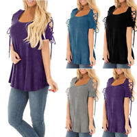 Womens T-Shirt Cold Shoulder Lace Up Short Sleeve Dressy Tunic Casual Top Blouse