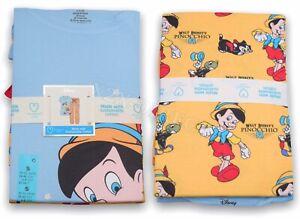 Disney Primark Pinocchio Short Sleeve T-Shirt & Bottoms Pyjama PJ Set Small NEW