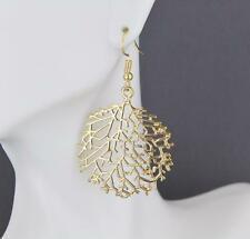 """Gold earrings skeleton leaf round circle dangle cut out filigree 2 1/8""""long"""