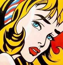 Hommage à Roy Lichtenstein-Fille avec cheveux bande 80x80 cm Reproduction Peinture à l'huile