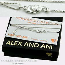 Authentic Alex and Ani Providence Seahorse S.Silver Pullchain Necklace