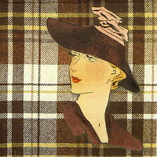4x Paper Napkins - Lady in Brown - for Party, Decoupage Craft