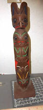 Alaska Tribal style Totem Pole, carved wood (resin) look, 12.5 in hand painted