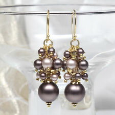 Brown and Beige Swarovski Crystal Pearl Cluster Earrings, Pearl Earrings