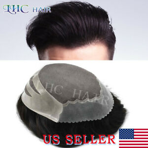 Fine Mono Mens Toupee Poly Skin Black Hair System Hairpieces Replacement Wig US
