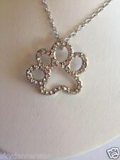 CAT DOG PET PAW PRINT CRYSTAL RHINESTONE PENDANT NECKLACE HAND MADE CAT ResQ