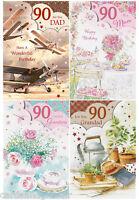 Milestone Age 90 Birthday Greeting Card Mum Dad Grandma Grandad 90th