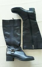 Bandolino NEW 6 M Calais Black Leather Boots Knee high zip up buckle detail