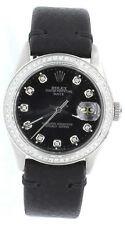 Rolex Mens Oyster Perpetual DIAMOND DATE Stainless Steel Black Dial Leather