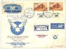 AZ184 1955 * Israel * cubierta de vuelo especial Zurich Suiza {samwells-cubre} Pts