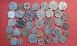 ACCUMULATION OF MIDDLE EAST / ARABIC / ASIAN COINS - UNSORTED - 37 COINS