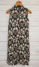 Zara Basic Womens Black Sleeveless Buttoned Collared Floral Shirt Dress Size XS