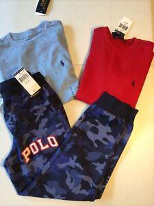 Polo Ralph Lauren Boy's Size Small 8 Outfit Camo Jogger Sweatpants & 2 Shirts