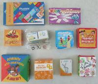 Lot de 10 minis jeux de cartes, dominos, memory, 7 familles Playmobil, Samsam...