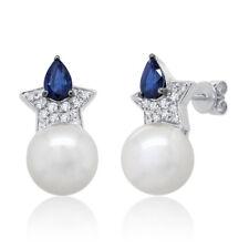 0.71TCW 14K White Gold Fresh Water Pearl Blue Sapphire Diamond Star Stud Earring