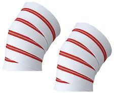 4Fit pair of Power Lifter Weight Lifting Knee Wraps supports for GYM use White