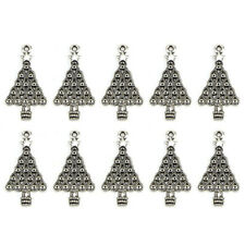 10PCS Tibetan Silver Christmas Tree Pendants Charms DIY Jewelry Findings FO