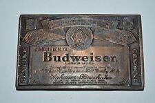 Vintage 1970s Budweiser Beer Bottle Label Brass Tone Aged Bar Belt Buckle NICE
