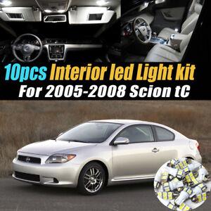 10Pc Super White Car Interior LED Light Bulb Kit for 2005-2008 Scion tC