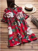 Loose Fashion Tops O Neck Top Pullover New V Neck Elegant Floral Short Sleeve