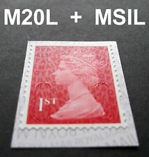 NEW OCT 2020 1st Class M20L + MSIL MACHIN SINGLE STAMP from Booklet